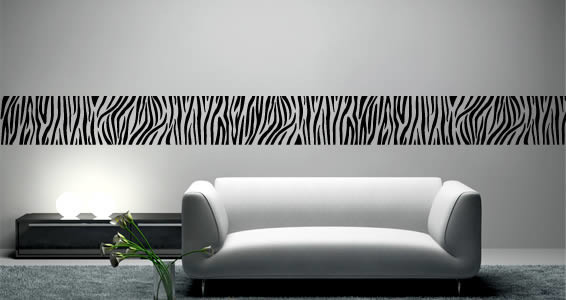 Zebra Strips Wall Border Decal 3 Sections Beige 100x47