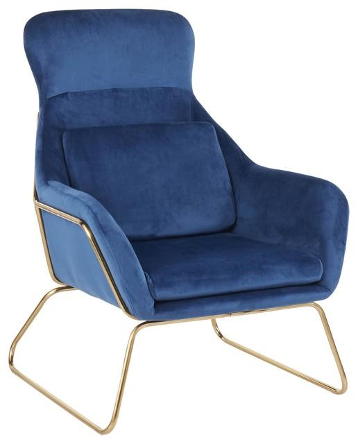 Penelope Contemporary Lounge Chair, Gold Metal, Blue Velvet