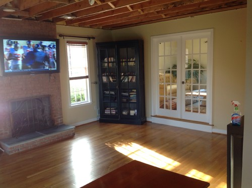 Help small sunken family room decorating ideas needed for French door decorating ideas