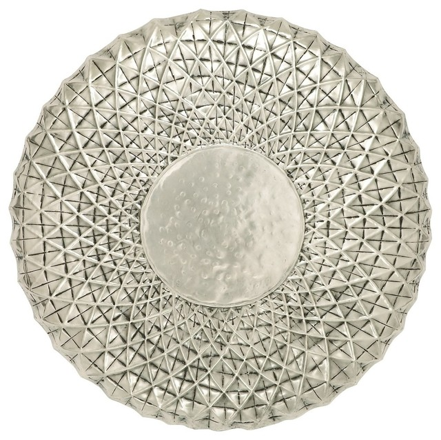 Antique Round Metal Wall Art Spiral Silver Chrome Accent Home Decor 34655