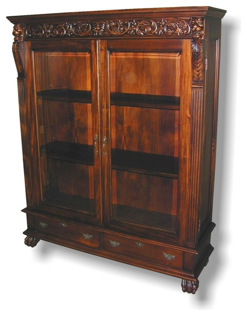 Lion Carved Claw Feet Ball Bookcase Traditional