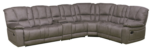 Betsy Furniture Microfiber Reclining Sectional Living Room Set, Grey