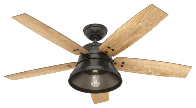 Hunter 52 Beech Hollow Noble Bronze Ceiling Fan Led Light And Remote Control Transitional Ceiling Fans By Hunter Fan Company Houzz