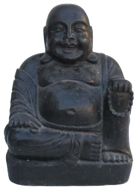 Chinese Hand Carved Sitting Happy Buddha Stone Statue