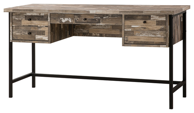 Salvaged Cabin Wood Writing Desk With 4 Drawers, Black Metal Base  industrial-desks- - Salvaged Cabin Wood Writing Desk With 4 Drawers, Black Metal Base