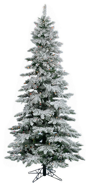 75 Pre Lit Flocked Layered Utica Fir Slim Christmas Tree Multi