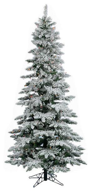 7 5 Pre Lit Flocked Layered Utica Fir Slim Christmas Tree Multi