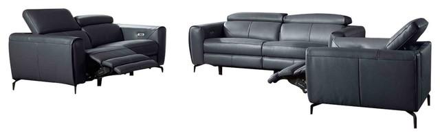 Lorenzo 3 Piece Motion Leather Sofa Set Blue Grey Contemporary