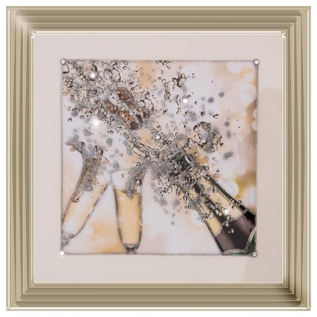"""Champagne Fizz 2"" Liquid Art, 56x56 cm"