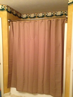 bhg curved shower curtain install and curtain length