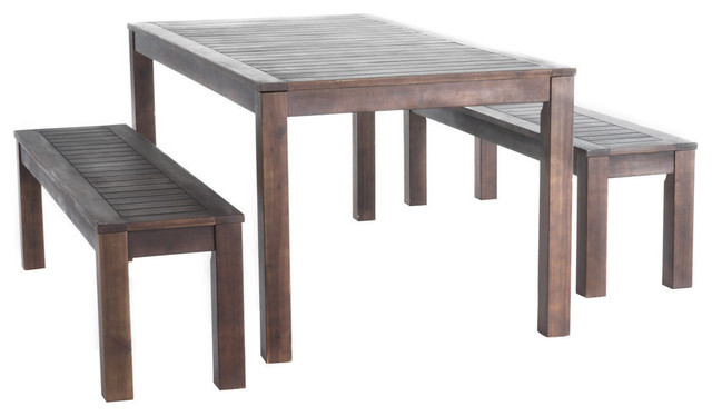 Marin Dark Brown Acacia Wood Outdoor Picnic Set Transitional