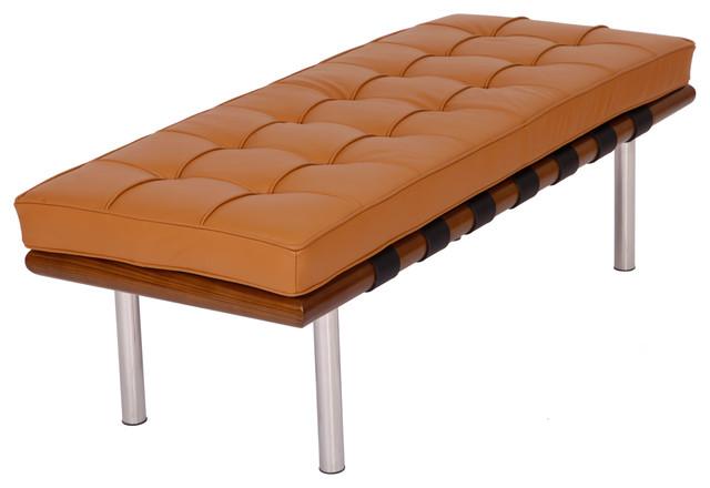 Mlf Barcelona Bench Italian Leather Modern