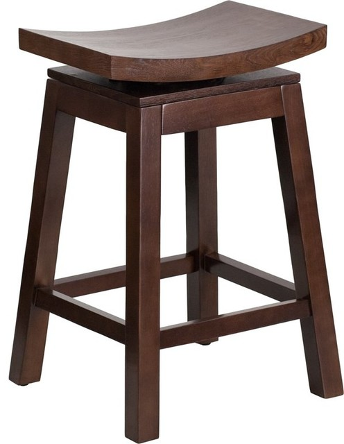 Estella 26 Saddle Seat Cappuccino Wood Counter Stool