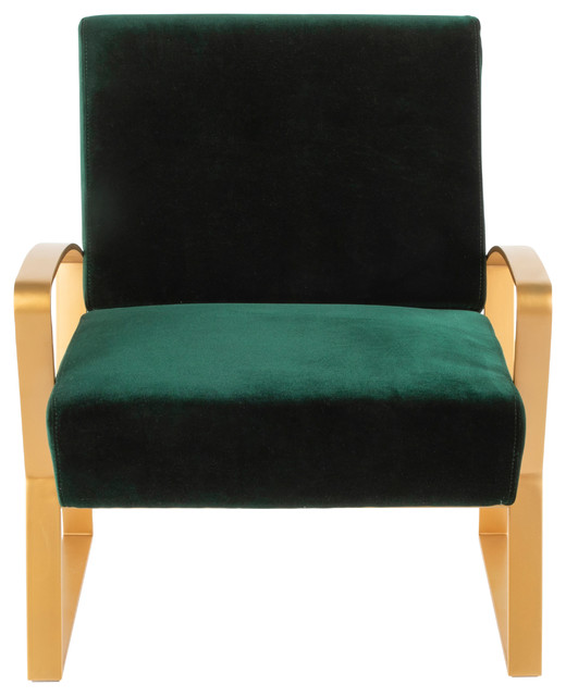 LumiSource Henley Lounge Chair, Gold Metal with Emerald Green Velvet by LumiSource