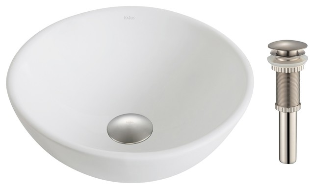 Elavo Ceramic Small Round Vessel Sink With Pop-Up Drain, White, Brushed Nickel.