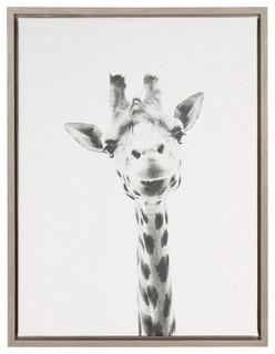 Sylvie Giraffe Gray Framed Canvas Wall Art By Simon Te Tai