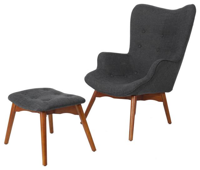 Hariata Mid-Century Modern Wingback Chair And Ottoman Set