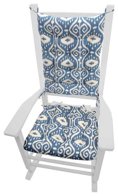 Swell Bali Ikat Blue Rocking Chair Cushions Extra Large Squirreltailoven Fun Painted Chair Ideas Images Squirreltailovenorg