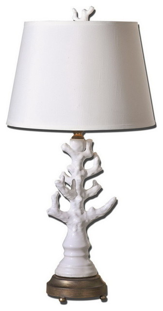 uttermost 27493 coral white table lamp transitional table lamps. Black Bedroom Furniture Sets. Home Design Ideas