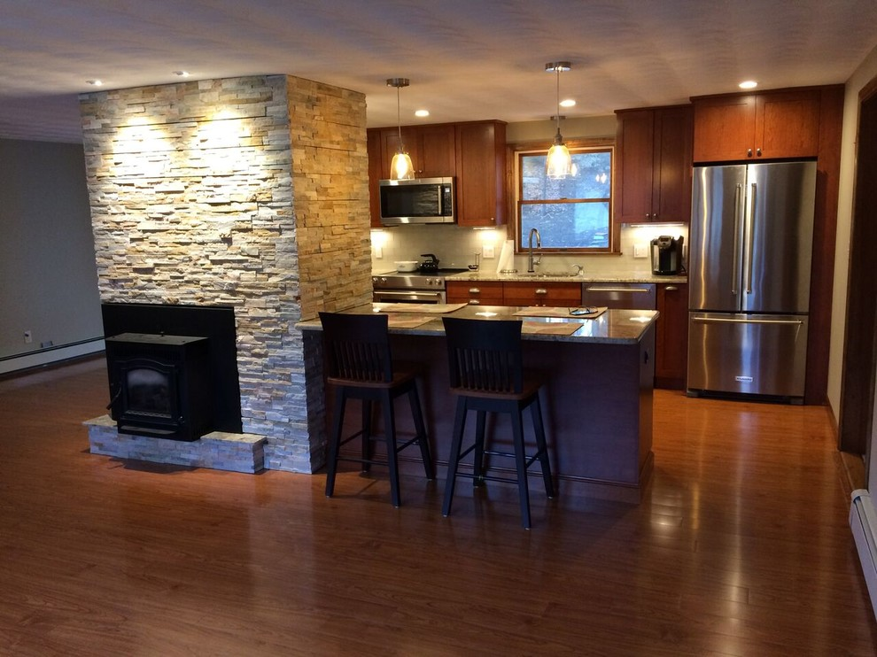 Transitional Kitchen With Fireplace