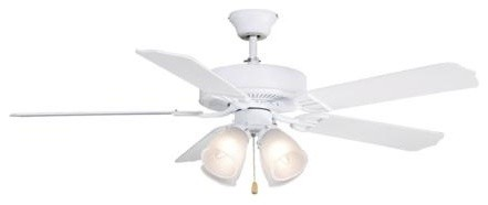 52 Aire Decor Builder With 4-Lights Ceiling Fan, Matte White.