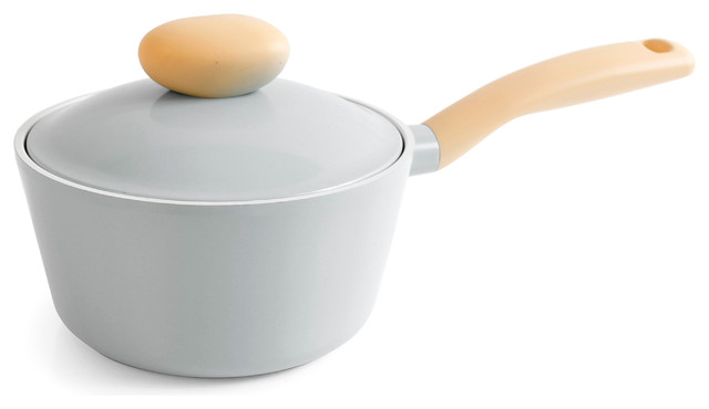 Neoflam Retro 1.5qt Covered Cast Aluminum Saucepan With Soft Touch Grip, Gray.