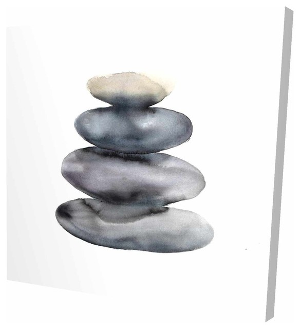 Watercolor Stacked Rocks Fine Art Gallery Wrapped Canvas 36 X36