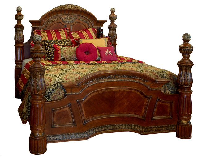 King Valencia Poster Bed With Marble Highlights.