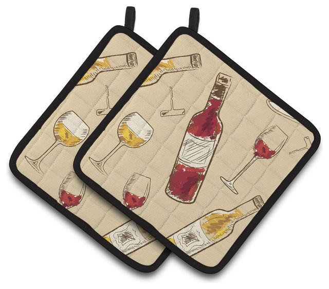 Red Pot Holders: Red And White Wine Pot Holders, Set Of 2