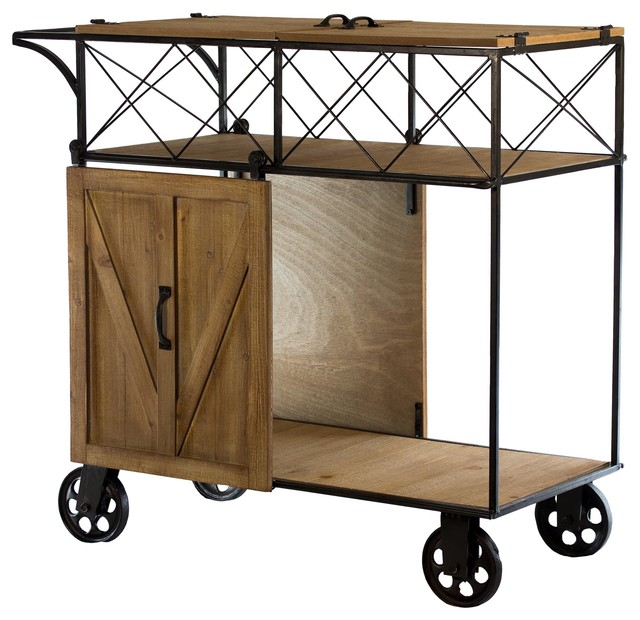 Rustic Wood/metal Barn Door Rolling Bar Cart.