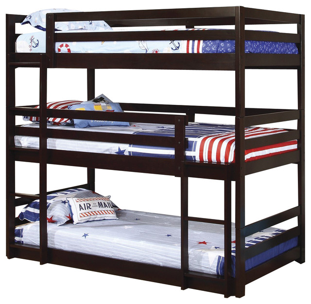 shop houzz sleep and play usa wyatt twin size triple bunk bed bunk beds. Black Bedroom Furniture Sets. Home Design Ideas