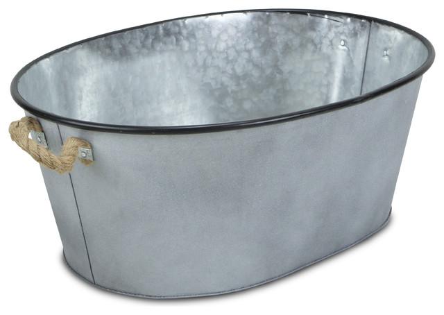 Large Galvanised Metal Bucket Planter Decorative Copper Rims Rustic Rope Handle