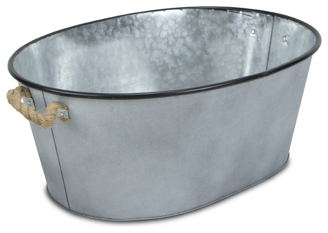 Galvanized Metal Oval Bucket Farmhouse Storage Bins And Boxes By Cheungs