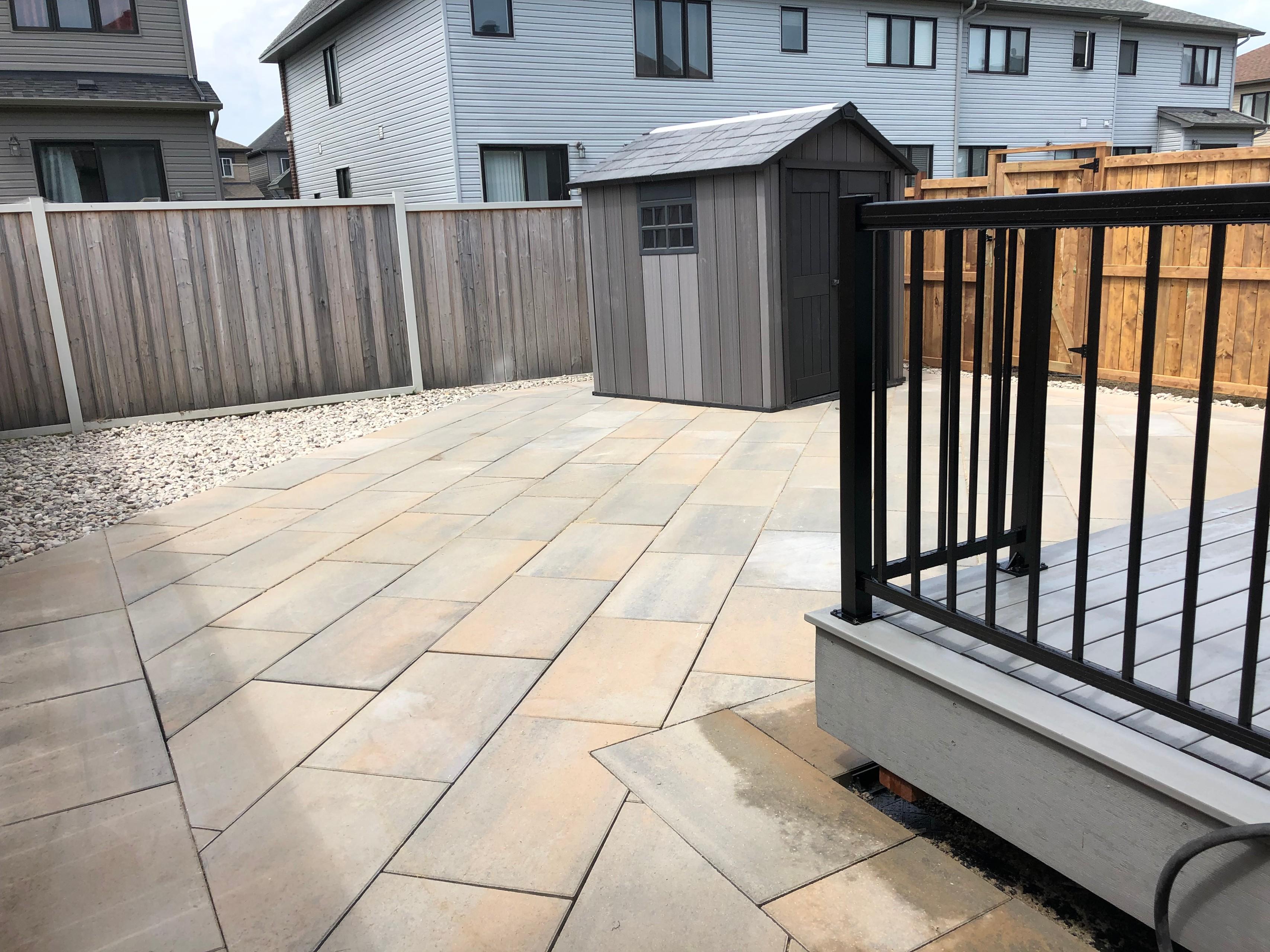 composite deck with alluminum railing and interlock