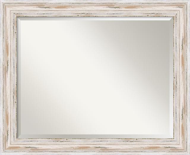 "Alexandria Whitewash Wall Mirror, Large 33""x27""."