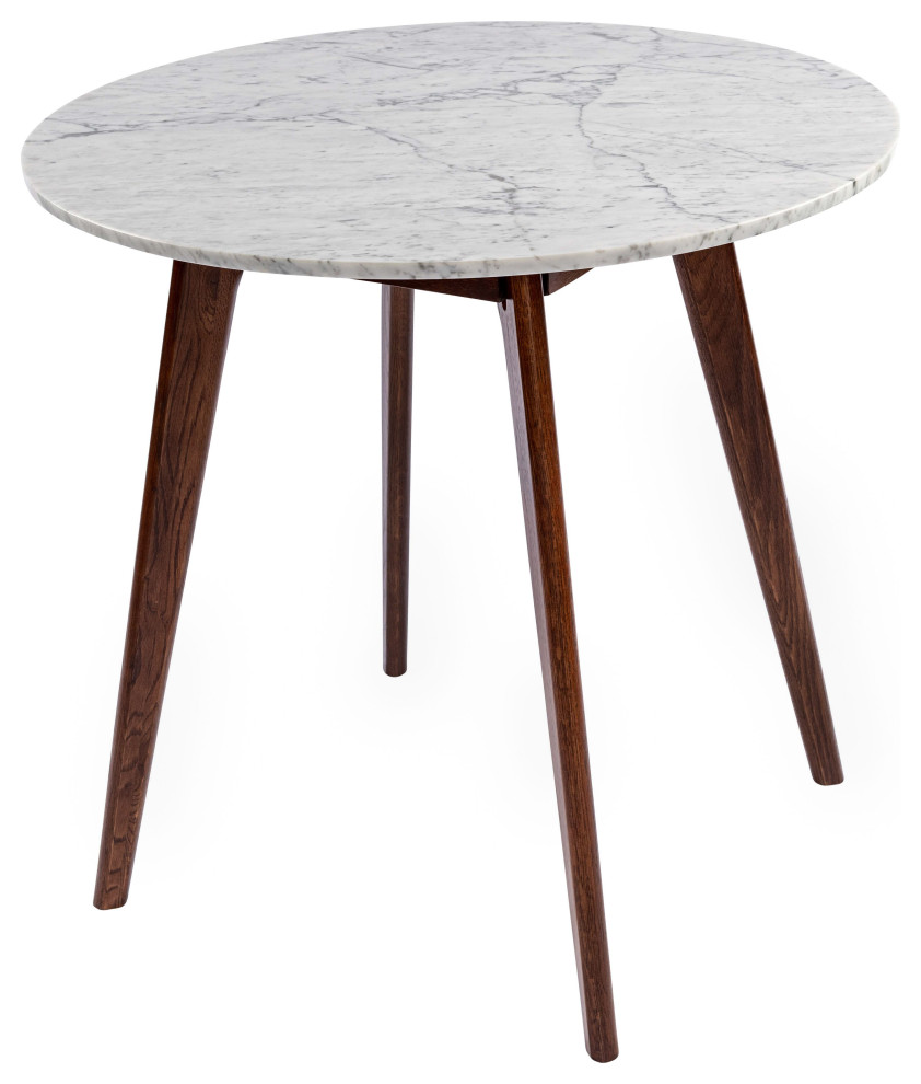 Avella 31 Round Italian Carrara White Marble Dining Table With Walnut Legs Midcentury Dining Tables By Hedgeapple Pt1812 Houzz