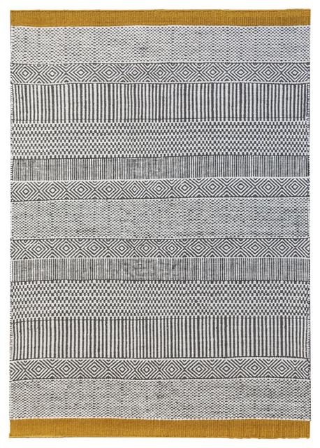 Triptik Grey and Yellow Floor Rug, 160x230 cm
