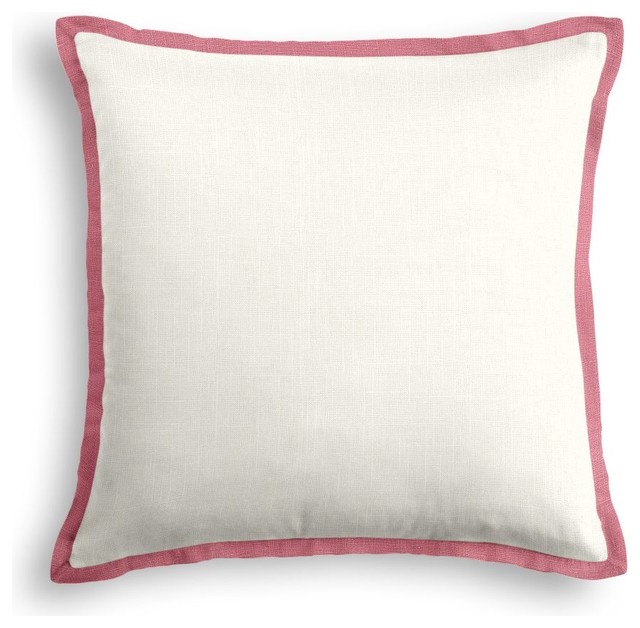 Decorative Pillows Trim : ivory Linen Pillow With Dark Pink Trim - Contemporary - Decorative Pillows - by Loom Decor