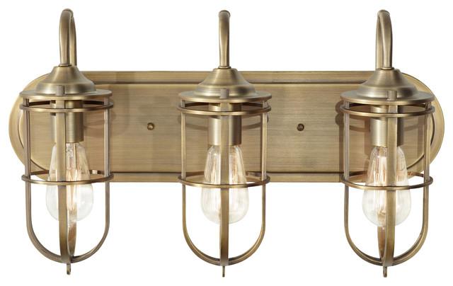 3 Light Standard Bulb Bath Vanity Light, Dark Antique Brass ...