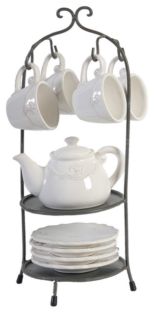 Cup Saucer And Teapot With Stand 10 Piece Set