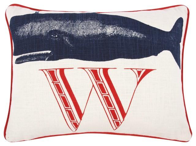 Coastal Inspired Throw Pillows : W Whale Pillow - Beach Style - Decorative Pillows - by Thomas Paul