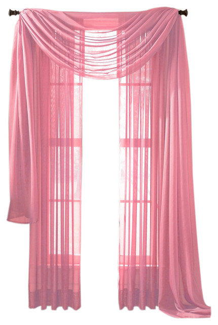 Moshells 90 Sheer Home Decor Curtain Panel Neon Pink
