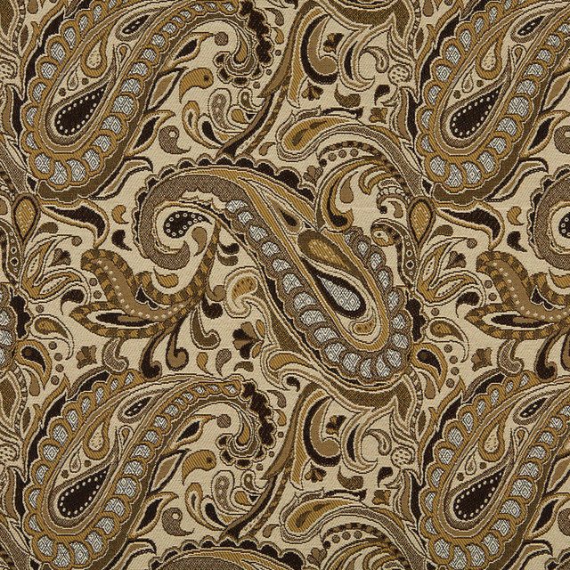 Brown Beige Gold And Tan Paisley Indoor Outdoor Upholstery Fabric By The Yard