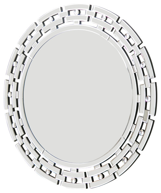 Claire Round Wall Mirror, Silver.