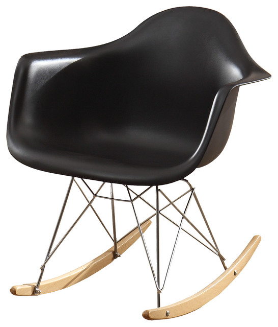 accent cradle chair rocking chair plastic seat metal supports black