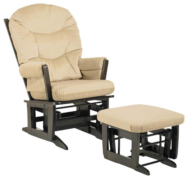 Modern Glider Chair W Ottoman Beige Contemporary
