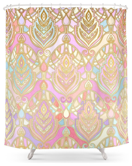 society6 rosy opalescent art deco pattern shower curtain