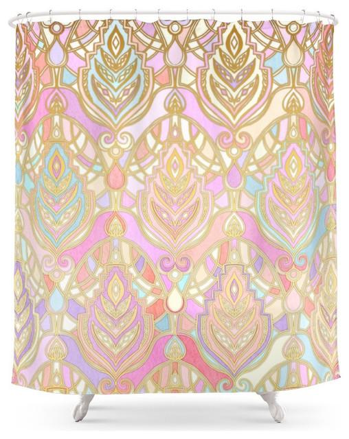 Rosy Opalescent Art Deco Pattern Shower Curtain Scandinavian Shower Curtains