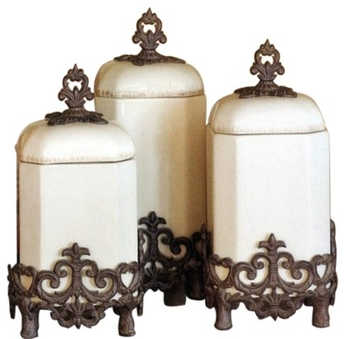 The Gg Collection Provencal Cream Canisters Set Of 3