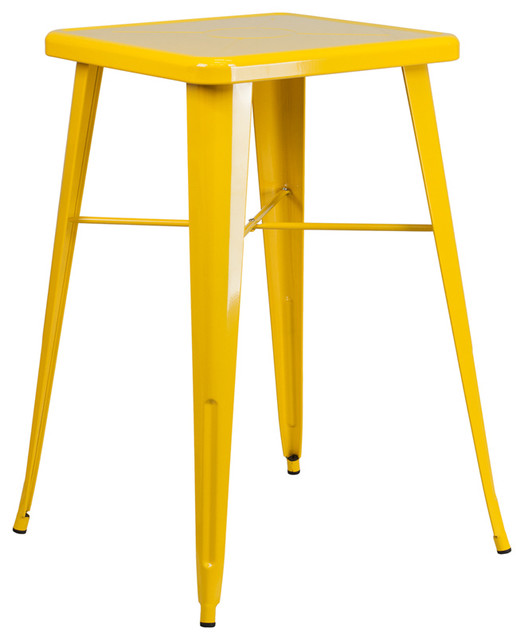 35.5-Inch Flash Furniture Square Metal Indoor-Outdoor Table Yellow